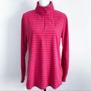 Columbia 1/4 Zip Fleece Pullover Striped Pink Sz L